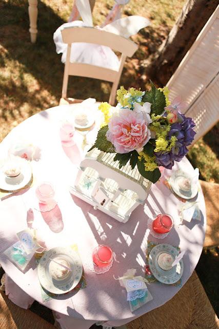 tea party tablescape top view
