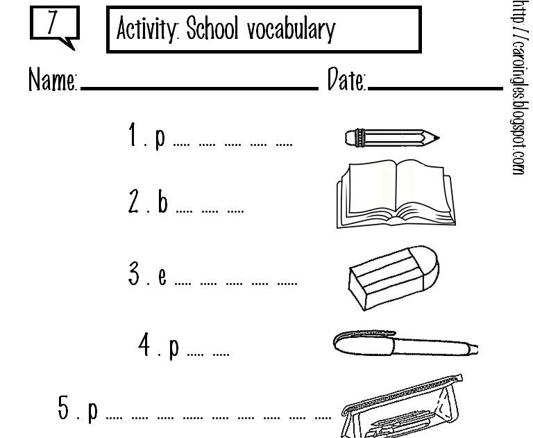 Excepcional Atividades de Inglês: Objects school (objetos escolares) MG87