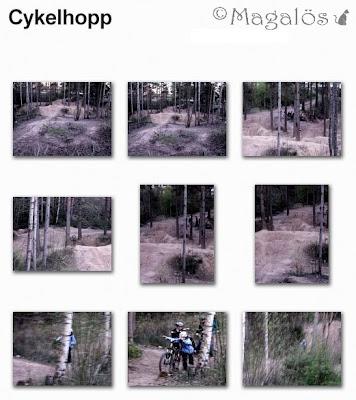 Collage som visar en väl kuperad cykelbana.