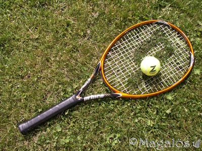 Tennisracket och boll, på gräsmattan.