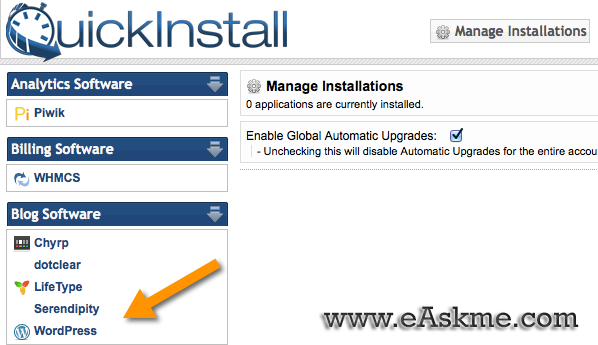 How to Install WordPress on Hostgator Using QuickInstall : eAskme