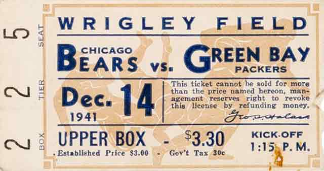 Ticket for Bears vs. Packers game, 14 December 1941 worldwartwo.filminspector.com