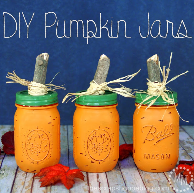 DIY Pumpkin Jars from The Scrap Shoppe Blog Week 37 Featured Post