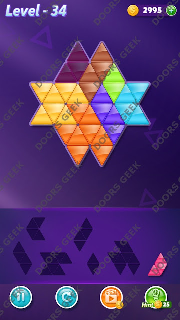 Block! Triangle Puzzle 7 Mania Level 34 Solution, Cheats, Walkthrough for Android, iPhone, iPad and iPod