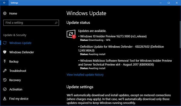 Windows 10 Preview Build 16273 for PC is now rolling out to Insiders