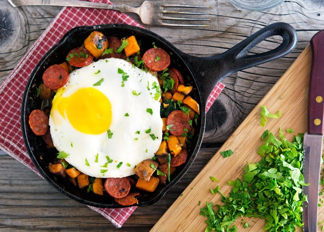 Sweet Potato, Spinach and Chorizo Hash with Baked Eggs
