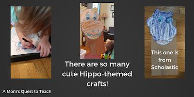 Hippo paper bag puppet craft