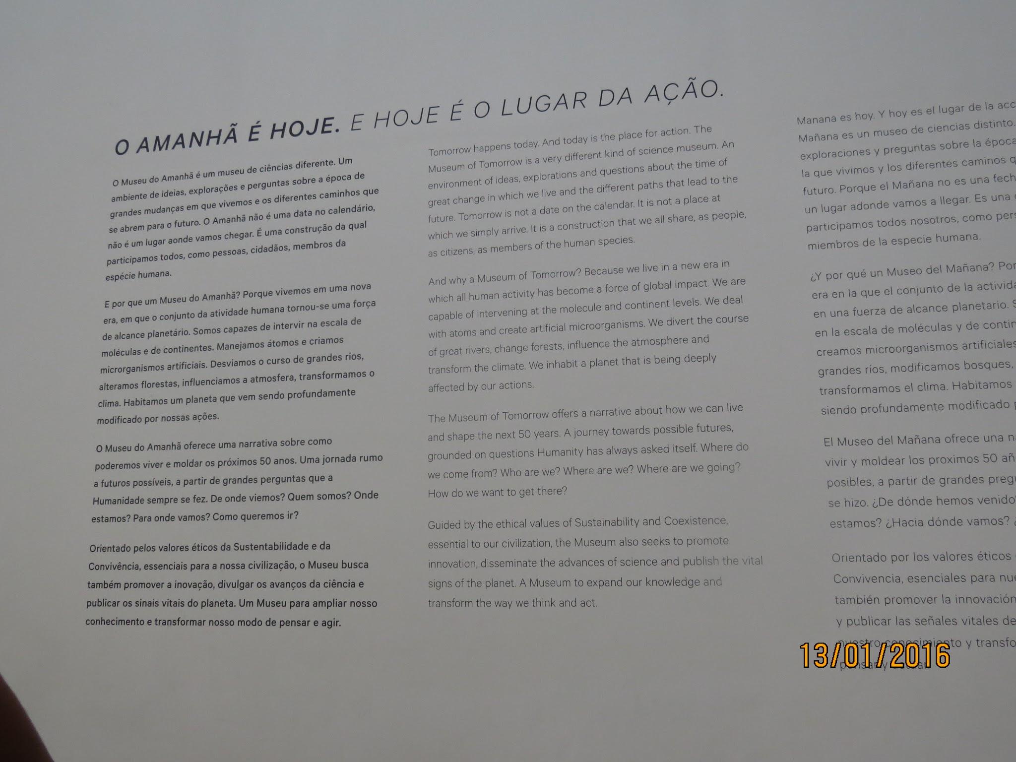 Texto museu do amanhã