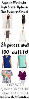 "How to create a NON-BORING Business Casual Capsule Wardrobe, or ""Uptown Chic Colorful Soul""!  Figure Out Your Personal Style and explore this Sample Example Minimalist Closet - Konmari Minimalist Ideas Fashion Clothing Choices mix-and-match"