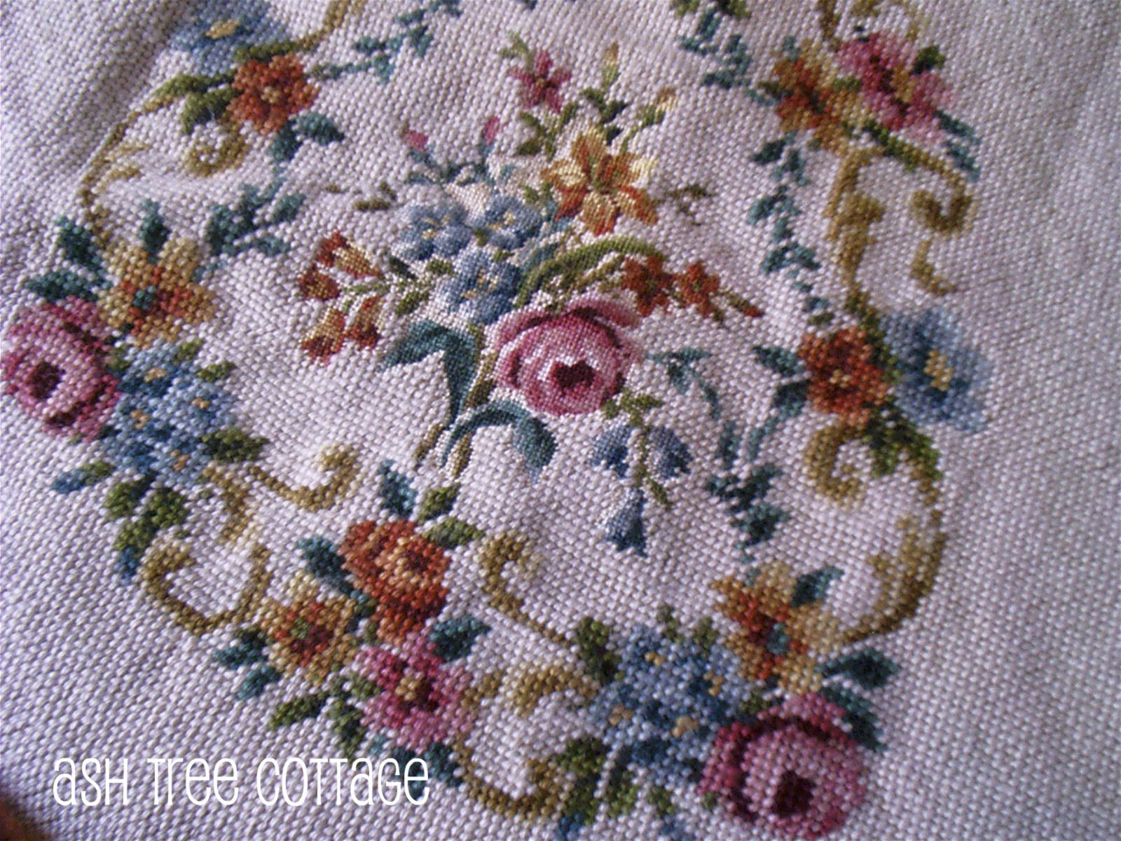 Ash Tree Cottage Vintage Needlepoint And China