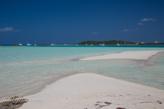 Bahamas sand bar and sailboats