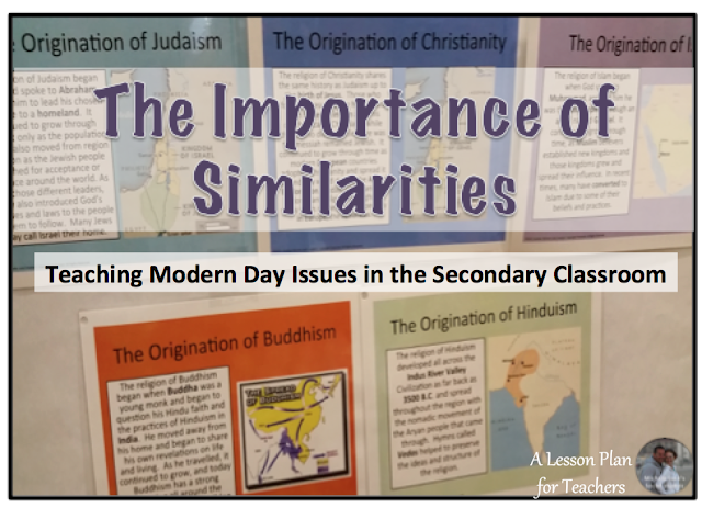 A discussion and tips on teaching modern issues, including world religions, in the secondary classroom.