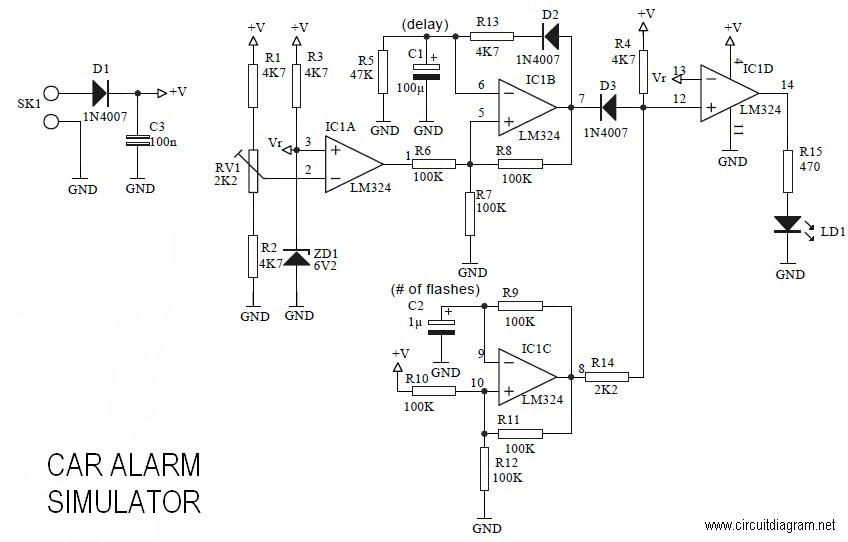 Latest Car Alarm Simulator Circuit Schematic With