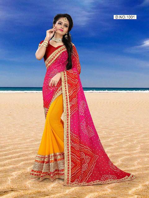 SD Half Half Bandhani Saree With Blouse Piece