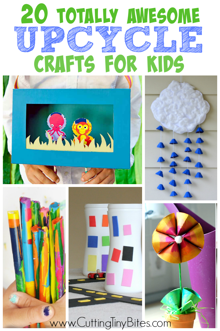 Totally Awesome Upcycle and Recycle Crafts for Kids.  Great ideas for Earth Day, or for using up materials.  Options for toddlers, preschoolers, and elementary!