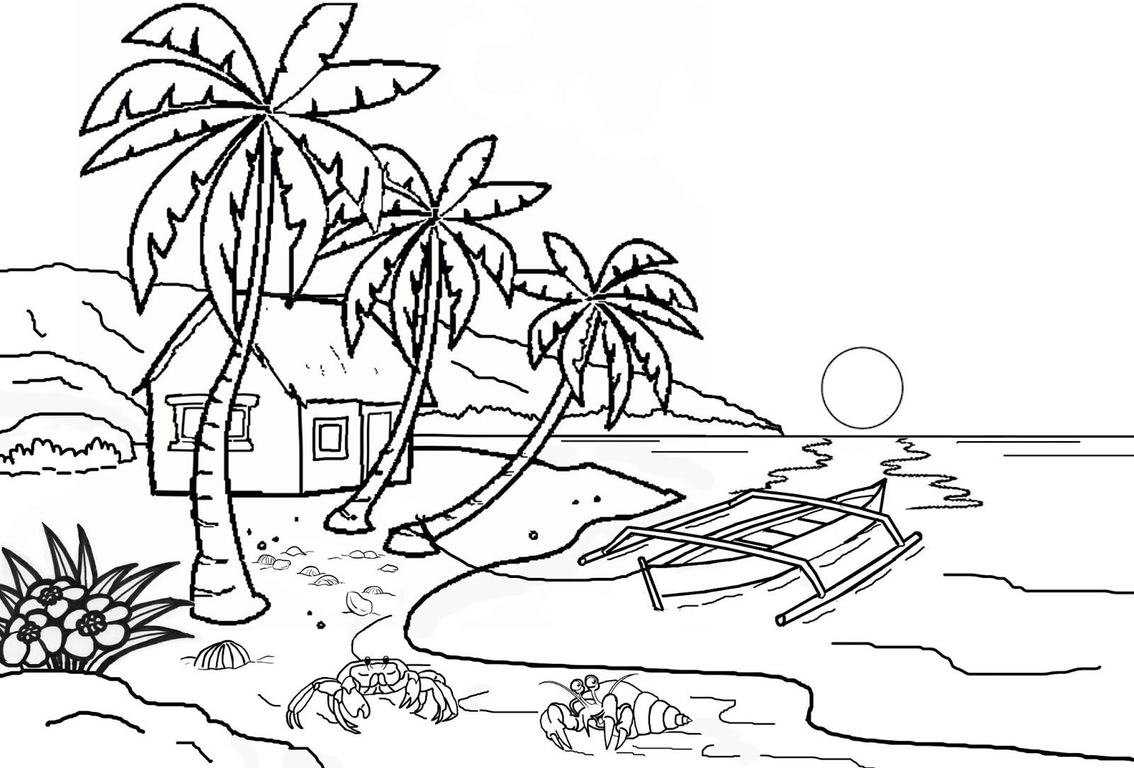 Gambar Gambar Mewarnai Sawah Lucu Pemandangan Kartun Di