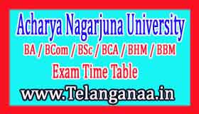 Download ANU Degree Annual Exam Time Table 2017