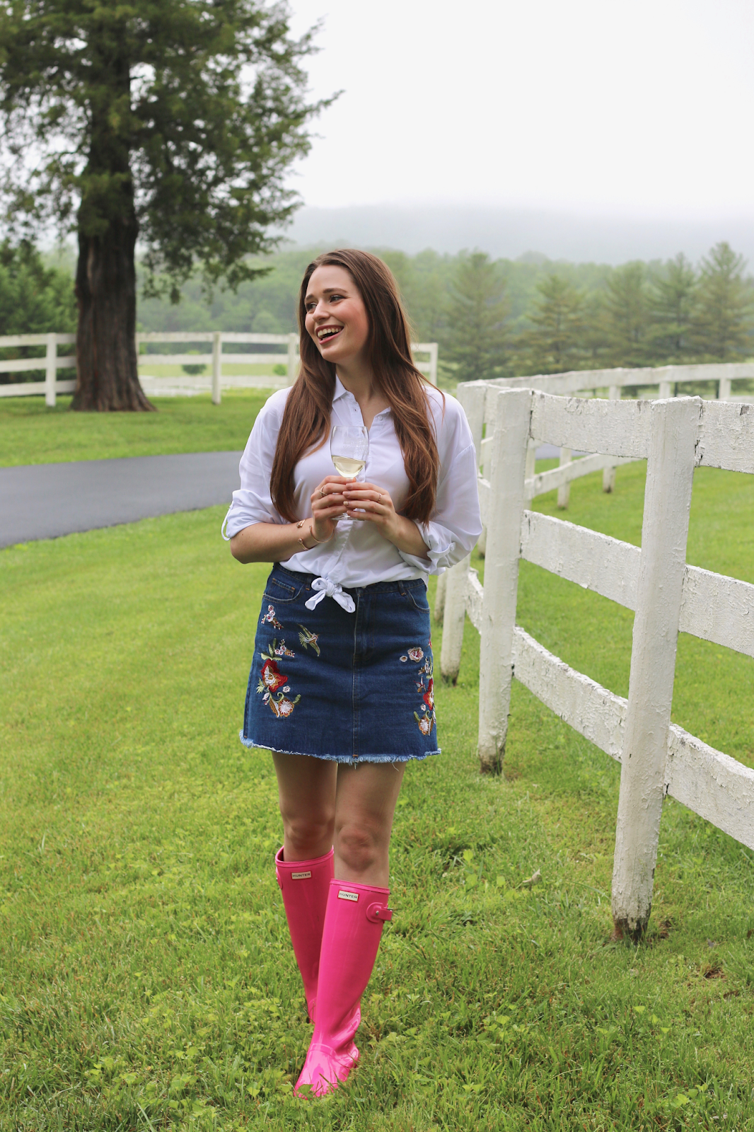 Pink Hunter Boots Spring Outfit