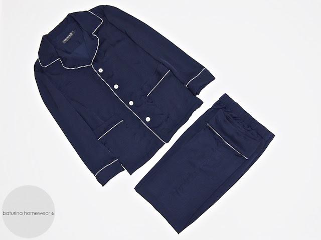 Men's silk pajamas dark navy blue pyjama set long classic