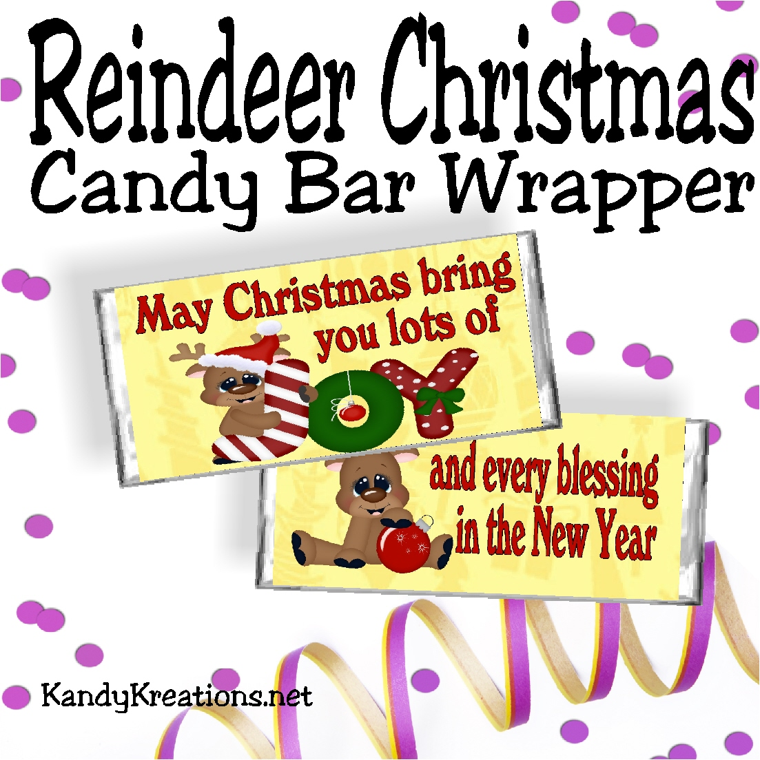 Diy Party Mom Reindeer Christmas Candy Bar Wrapper Free Printable