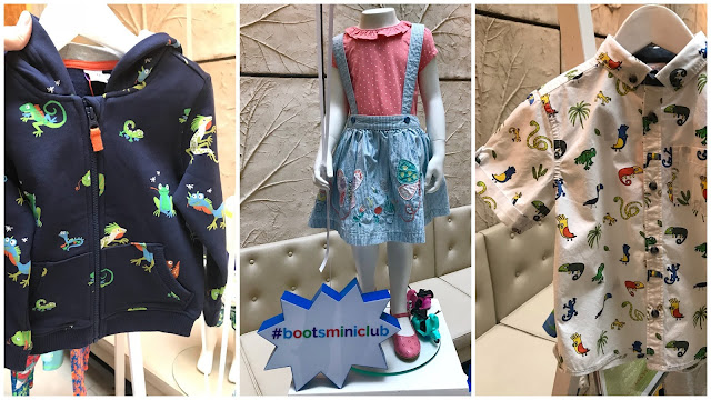 A navy hoody with cheerful looking reptiles, a pinny skirt and top set, and a white shirt with jungle characters on by mini club