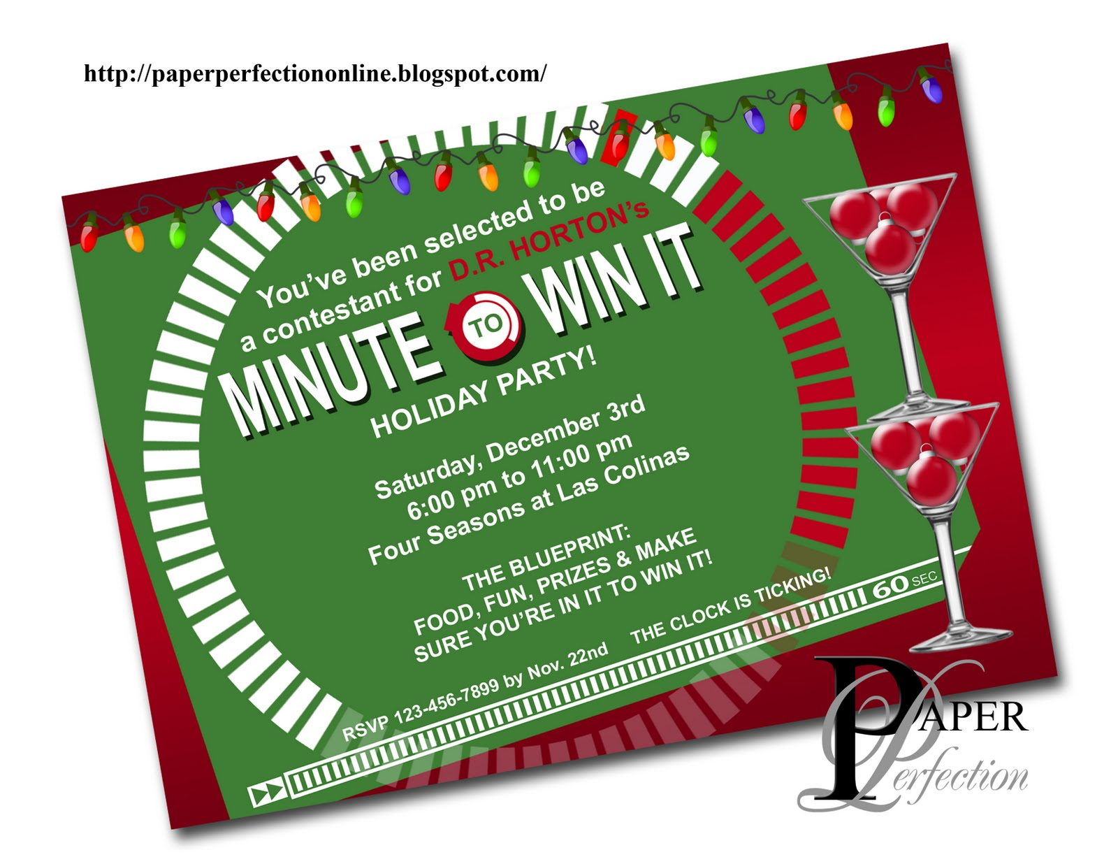 Minute To Win It Christmas.Paper Perfection Minute To Win It Christmas Party Invitation