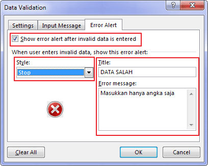 Data Validation Excel Error Alert