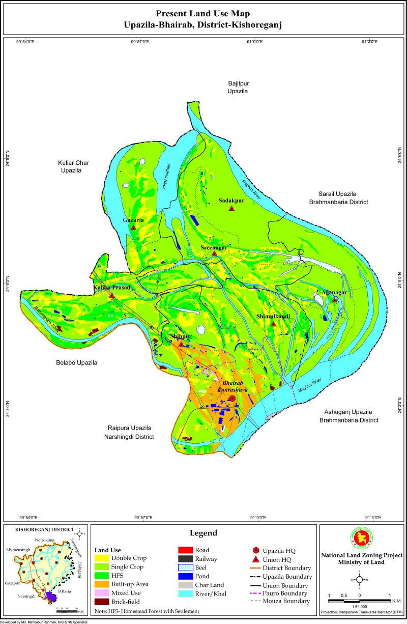 Bhairab Upazila Mouza Map Kishoreganj District Bangladesh