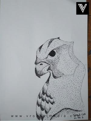 contoh gambar pointilis elang