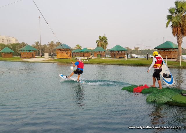 Wakeboarding beginners lake in Abu Dhabi