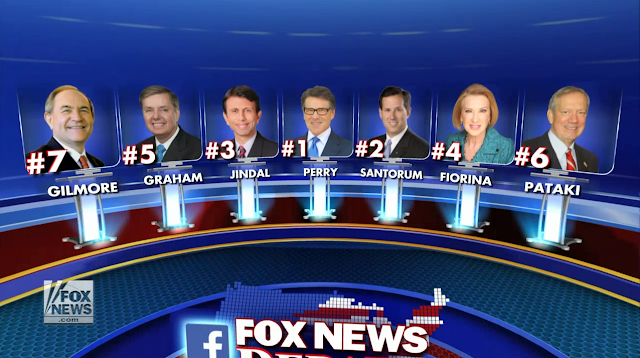 Fox News Republican GOP Debate Bottom Seven Kiddies Table August 6 Rick Perry Santorum Fiorina