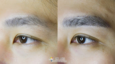 Immediate result after first Korean Eyebrow Embroidery for men with Ivy Brow Design (left eye)