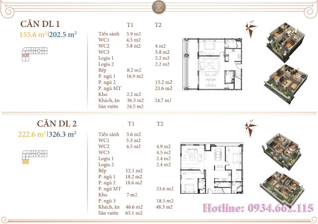 Loại hình căn hộ Duplex 01-02 tòa B1 Roman Plaza