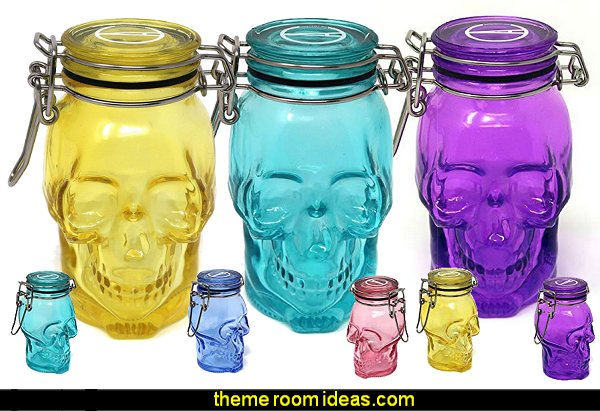Skull 100mL Colored Glass Airtight Container  Gothic kitchen decor - gothic kitchenware - gothic dinnerware - skull decor - skulls kitchen decorations - bat kitchen decor  dracula  vampires - Halloween kitchen decorating - skeletons kitchen decor -  zombie kitchen stuff - Gothic home decor - Gothic wall decor