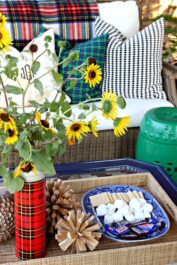 plaid pillows, outdoor living area, coffee table styling, fall decorations, patio, s'mores