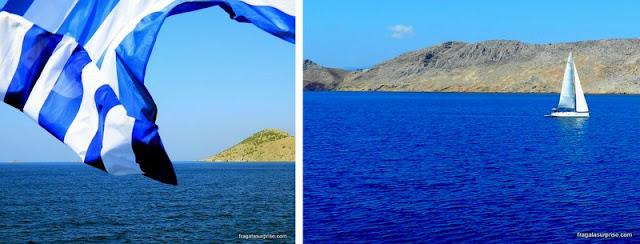 Navegação no Mar Egeu, entre as ilhas do Dodecaneso
