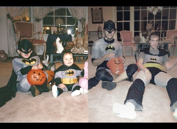 20 Hilarious Before And After Pictures Made By Adults Who Reminisced Their Childhood Years - Fortunately, there were two versions of those costumes.