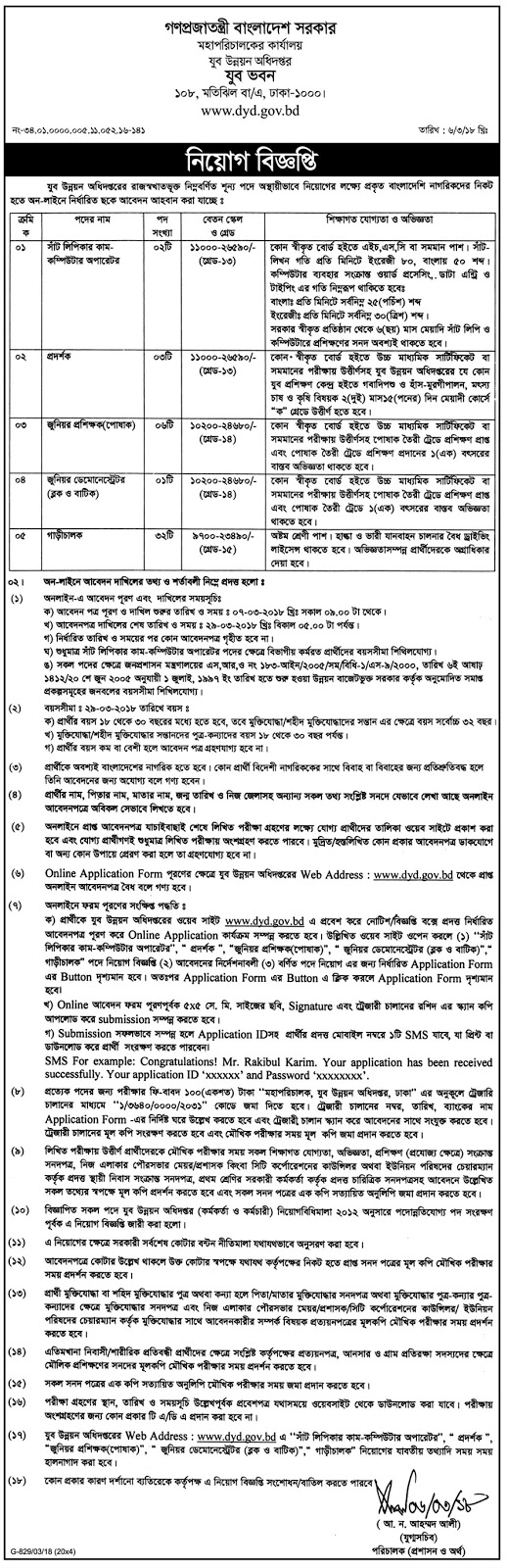 Department of Youth Development (DYD) Job Circular 2018