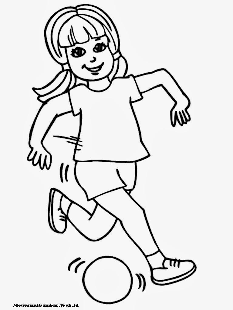 Gambar Sketsa Anak Bermain Bola Sobsketsa