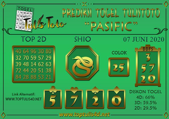 Prediksi Togel PASIFIC TULISTOTO 07 JUNI 2020