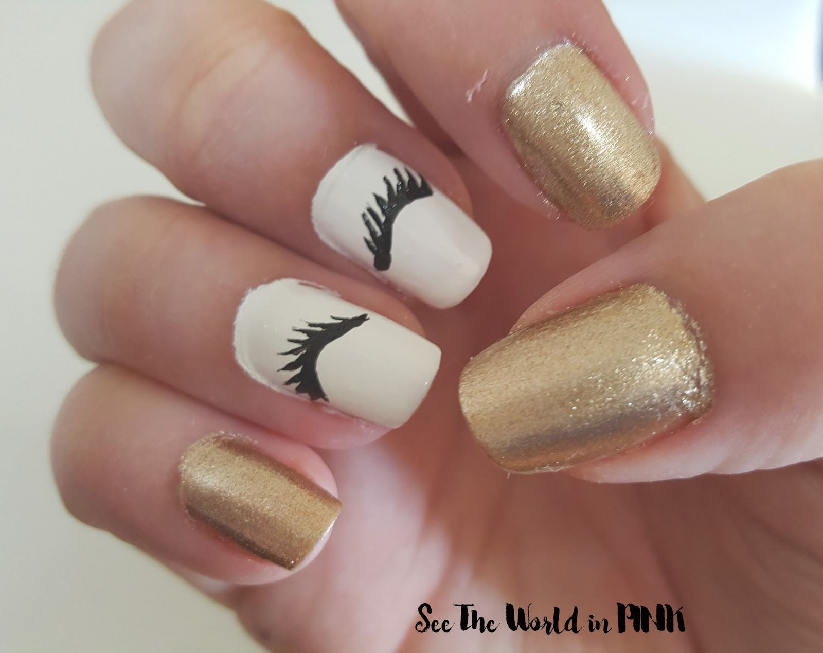 Manicure Monday - Eyelash Nail Art + Gold! | See the World in PINK