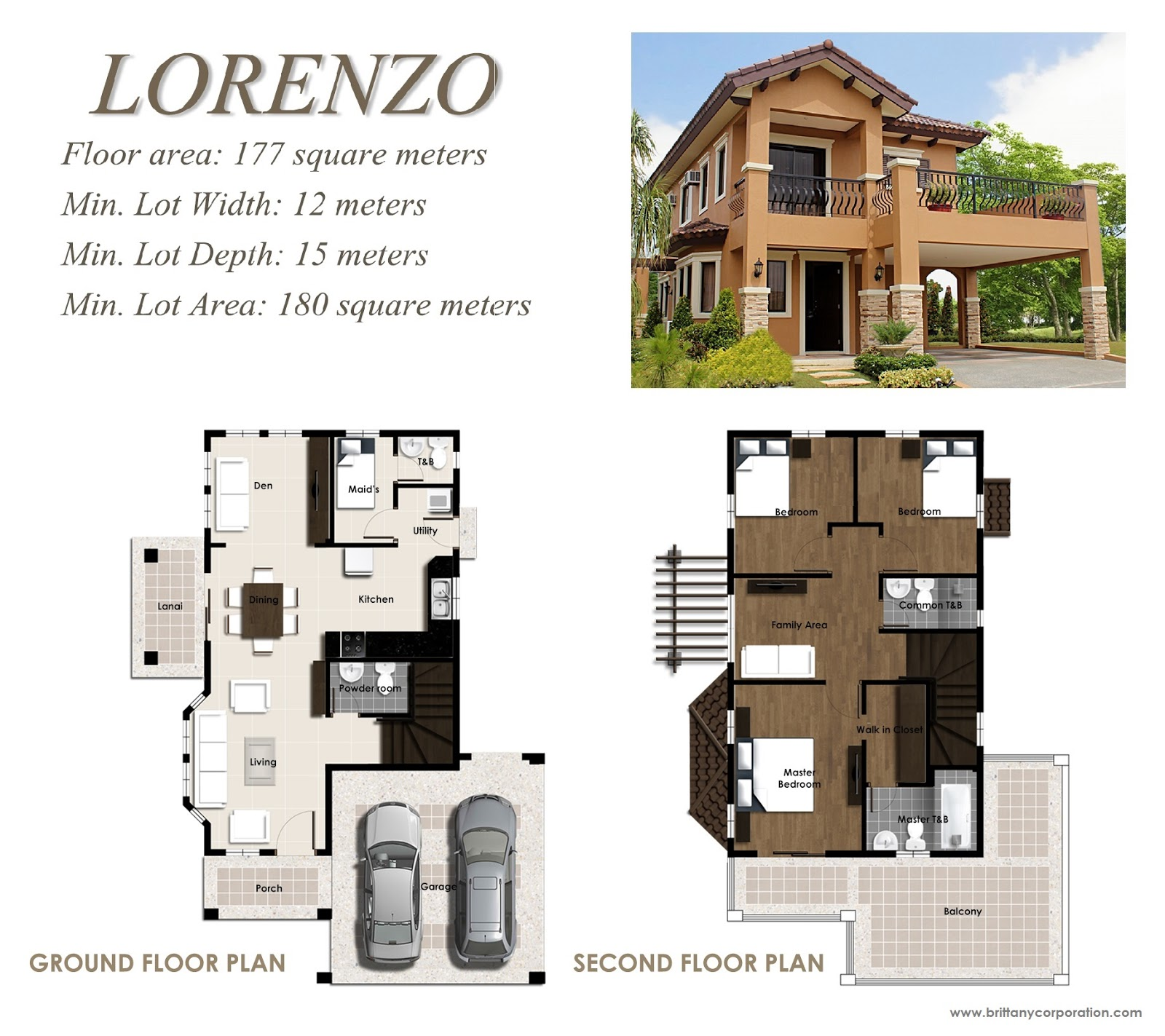 Floor Plan of Lorenzo Model - Amore Portofino | House and Lot for Sale Daang Reyna Las Pinas