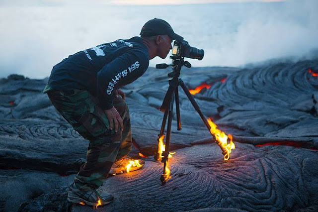 Crazy Photographers on Fire Volcano