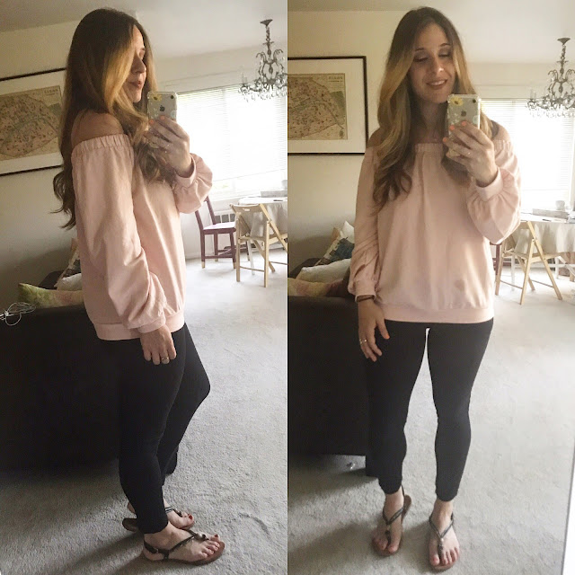 Off the shoulder Forever21 sweater with Express Skinny Pants
