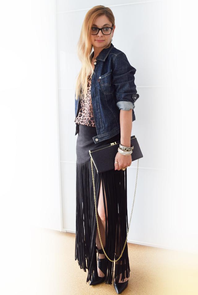 Jeansjacke mit rock kombinieren