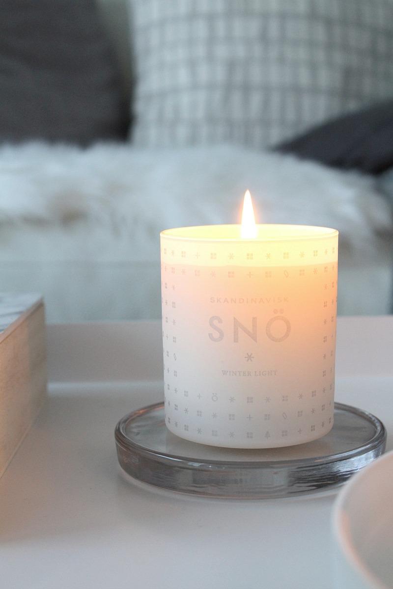 skandinavisk snö kynttilä