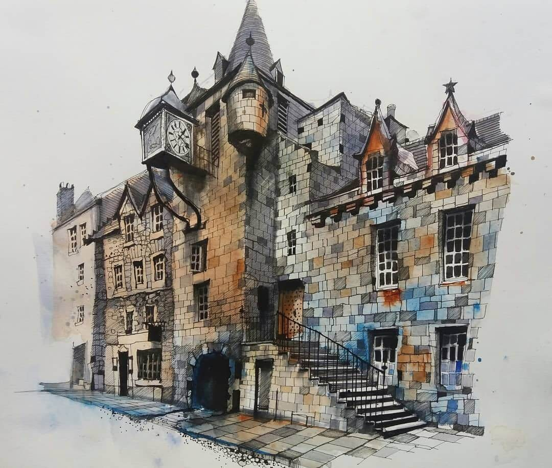 01-Edinburgh-Scotland-2-Ian-Fennelly-Urban-Sketches-Colorfully-Painted-www-designstack-co