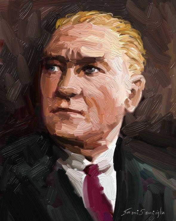 Atatürk Portresiyağlı Boya Portre çalışması Sanatsal Yorumlar