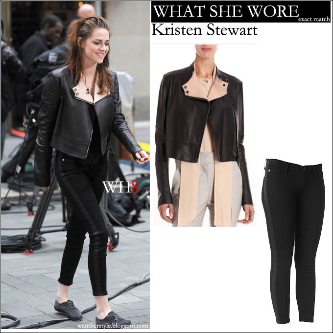 7de2e822b21 WHAT SHE WORE: black cropped leather Belstaff jacket and black skinny  tuxedo Hudson jeans