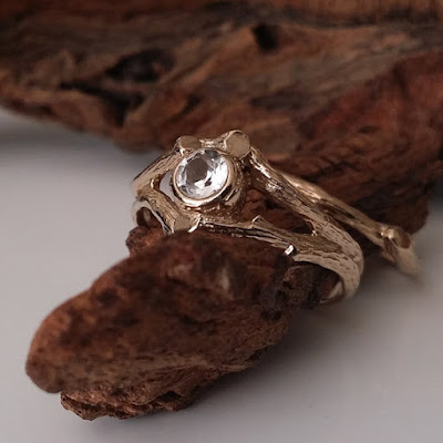 Moissanite Twig Engagement, Wedding Ring Set, Forever Brilliant™ Moissanite, wedding Band, 18k Gold, 14k gold, hand sculpted, Dawn Vertrees, Leaf and Twig Engagement Ring,